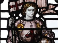 St George in a stained glass window at King Edward VI College in Stourbridge