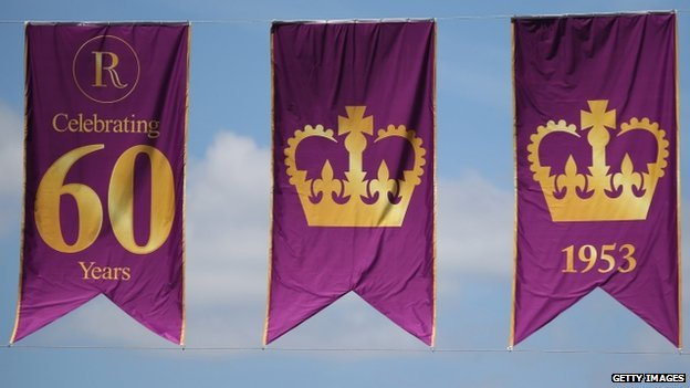 Flags fly over Regent Street to celebrate the 60th anniversary of the Coronation of Queen Elizabeth II
