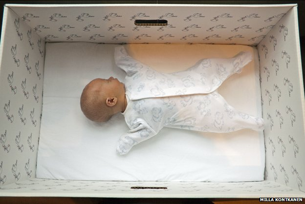 Finnish Baby Asleep in a Cardboard Box