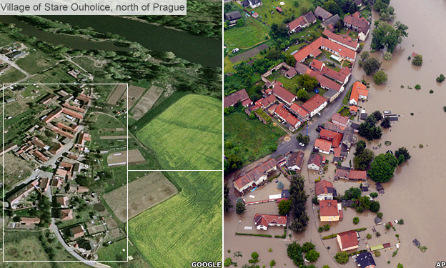 Czech village of Stare Ouhoulice before and after flooding