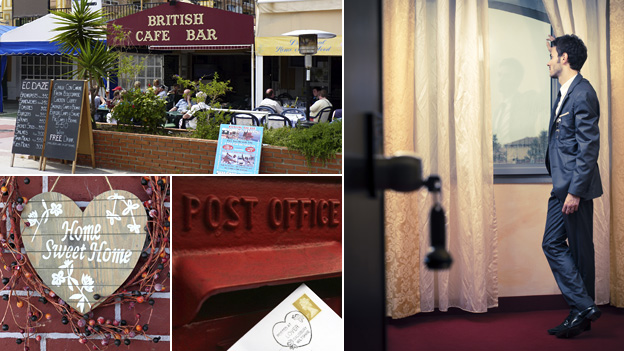 "Composite image featuring, clockwise from top left: A British cafe-bar in Spain, a man looking wistfully through a hotel window, a letter being posted and a sign reading ""Home Sweet Home"""
