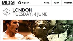 Screen grab of BBC homepage