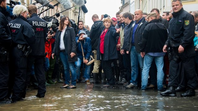 German Chancellor Angela Merkel visits flood-hit area