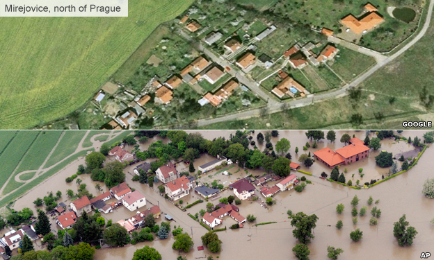 Mirejovice village, north of Prague, before and after the floods