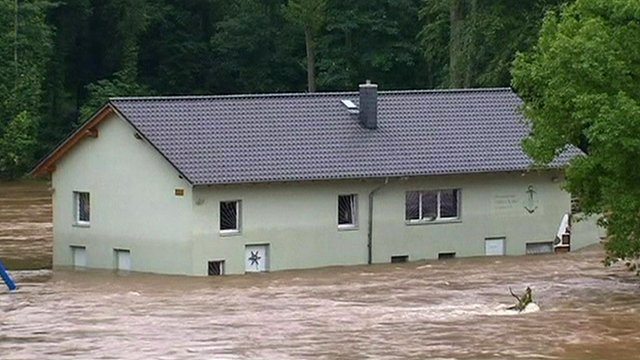 A house surrounded by water in Saxony, Germany