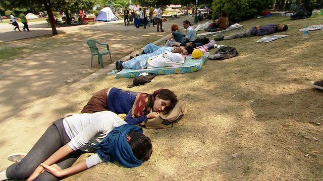 Protesters sleep
