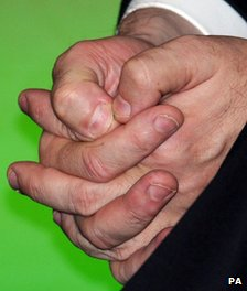 Gordon Brown's hands with chewing fingernails
