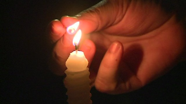 Candles lit during blackouts