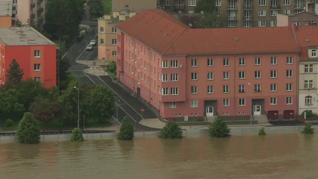 Metal barriers protect houses from flood waters in Usti nad Labem