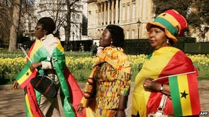 Ghanaian women  walk along The Mall in London on 13 March 2007