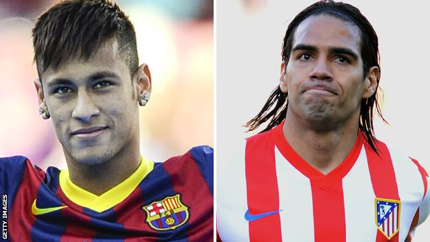 Neymar and Radamel Falcao