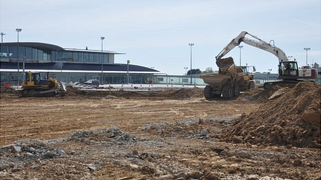 Guernsey Airport project: Work on the apron outside the terminal building