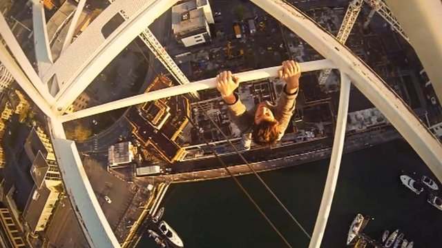 James Kingston scaled the 96m (314ft) crane at Admiral's Quay (footage by James Kingston)