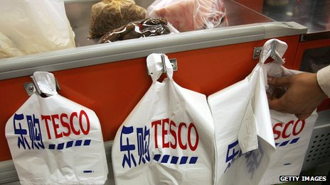 Carrier bags at a Tesco store in Beijing