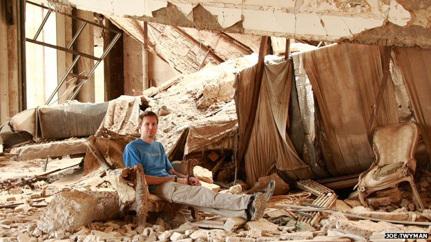 Joe Twyman in the ruins of one of Saddam's palaces