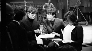 John Lennon and Paul McCartney during rehearsals for Saturday Club, December 1963