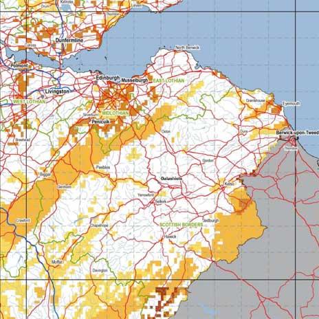 The darker orange areas show the higher probability of radon gas