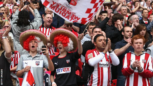 Brentford fans at Wembley