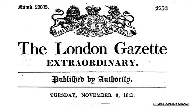 London Gazette sign from 1841 - when King Edward VII was born