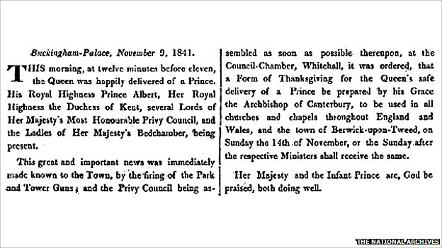 London Gazette notice regarding the birth of King Edward VII