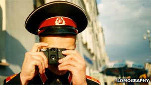 Russian soldier taking photo