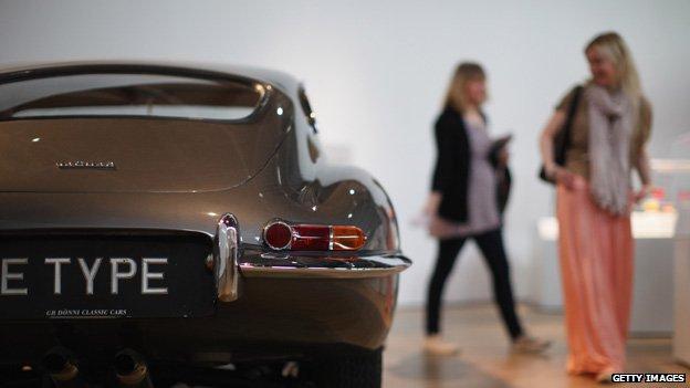 An E Type Jaguar on show at the Victoria & Albert Museum