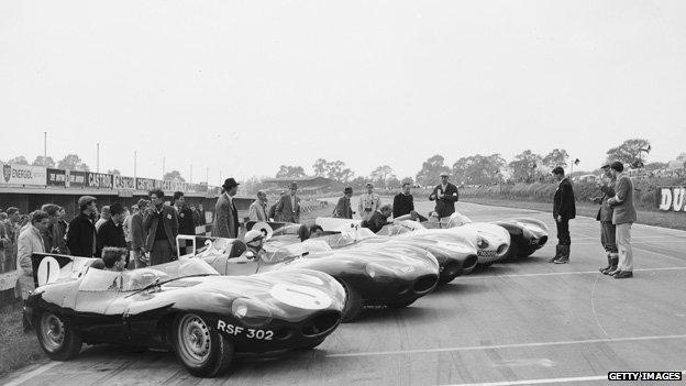 D-type Jaguars at Le Mans