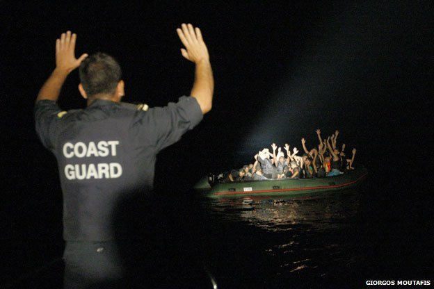 Coastguard signals to refugee boat
