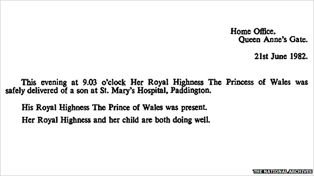London Gazette notice regarding the birth of Prince Charles
