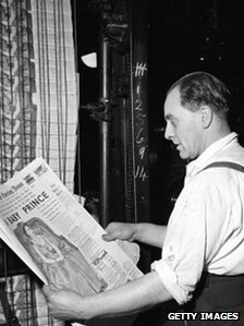 A man reading the announcement of the birth of Prince Andrew, Duke of York, in the Evening News, 19th February 1960.