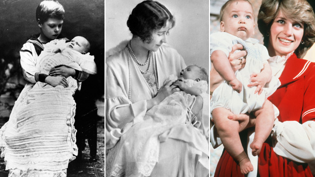 Official portraits of the future King Edward VIII holding his brother George in 1903, the then Duchess of York holding Princess Elizabeth in 1926 and Princess Diana with her baby Prince William. Pictures via Getty Images/ Wire Image
