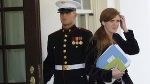 Samantha Power leaves the White House 12 October 2010