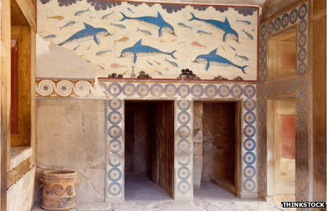 Inside the palace at Knossos