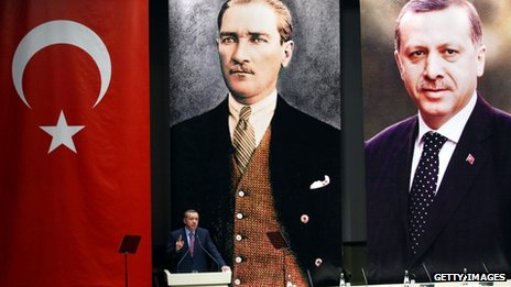 Turkish Prime Minister Recep Tayyip Erdogan stands in front of giant portraits of himself and Ataturk as he addresses AK party members, 24 May 2013