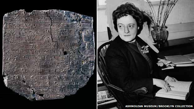 Linear B  tablet (l), and Alice Kober (r)