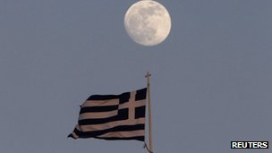 Greek flag and moon