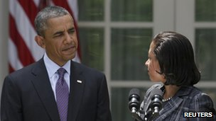 US President Barack Obama and his national security adviser Susan Rice in the White House Rose Garden 5 June 2013