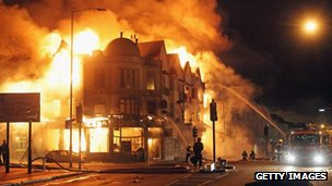A large fire breaks out in shops and residential properties in Croydon in the 2011 riots