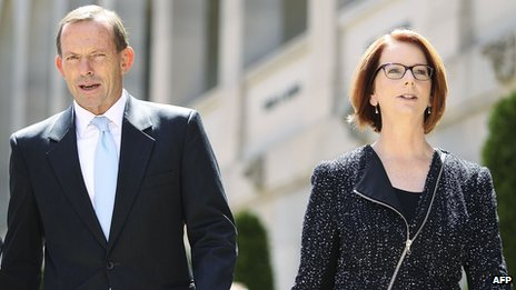 Tony Abbott and Julia Gillard, pictured on 5 February 2013