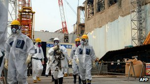 File photo: IAEA inspectors at the Fukushima Dai-ichi nuclear power plant, 17 April 2013