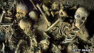 Herculaneum skeletons - victims of the AD79 Mt Vesuvius eruption