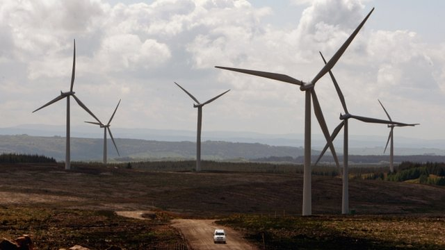 Whitelee onshore wind farm at Eaglesham in Scotland