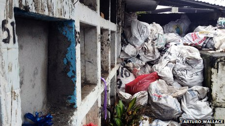 Bags containing unidentified remains in a cemetery in Tumaco, Colombia