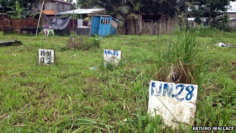 Tombstones in Bocas de Satinga, Colombia