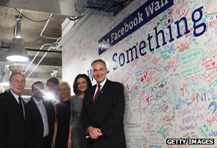 Sandberg - second right - at Facebook