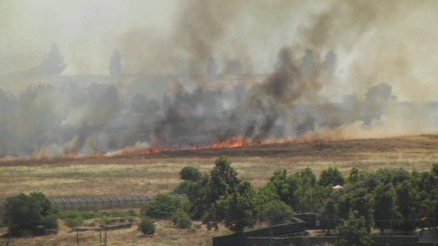 Fires near Israeli-held territory