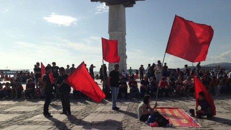 Protesters in Izmir