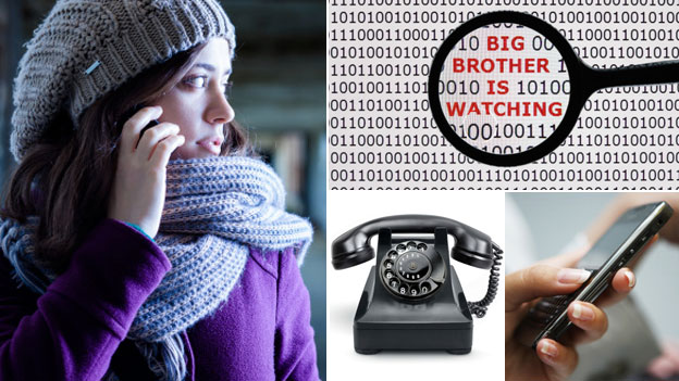 Clockwise: Woman on phone, computer code, cellphone, old phone
