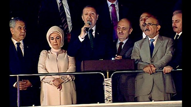 Turkish Prime Minister Recep Tayyip Erdogan addresses crowd