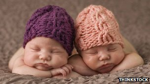 baby twins in hats
